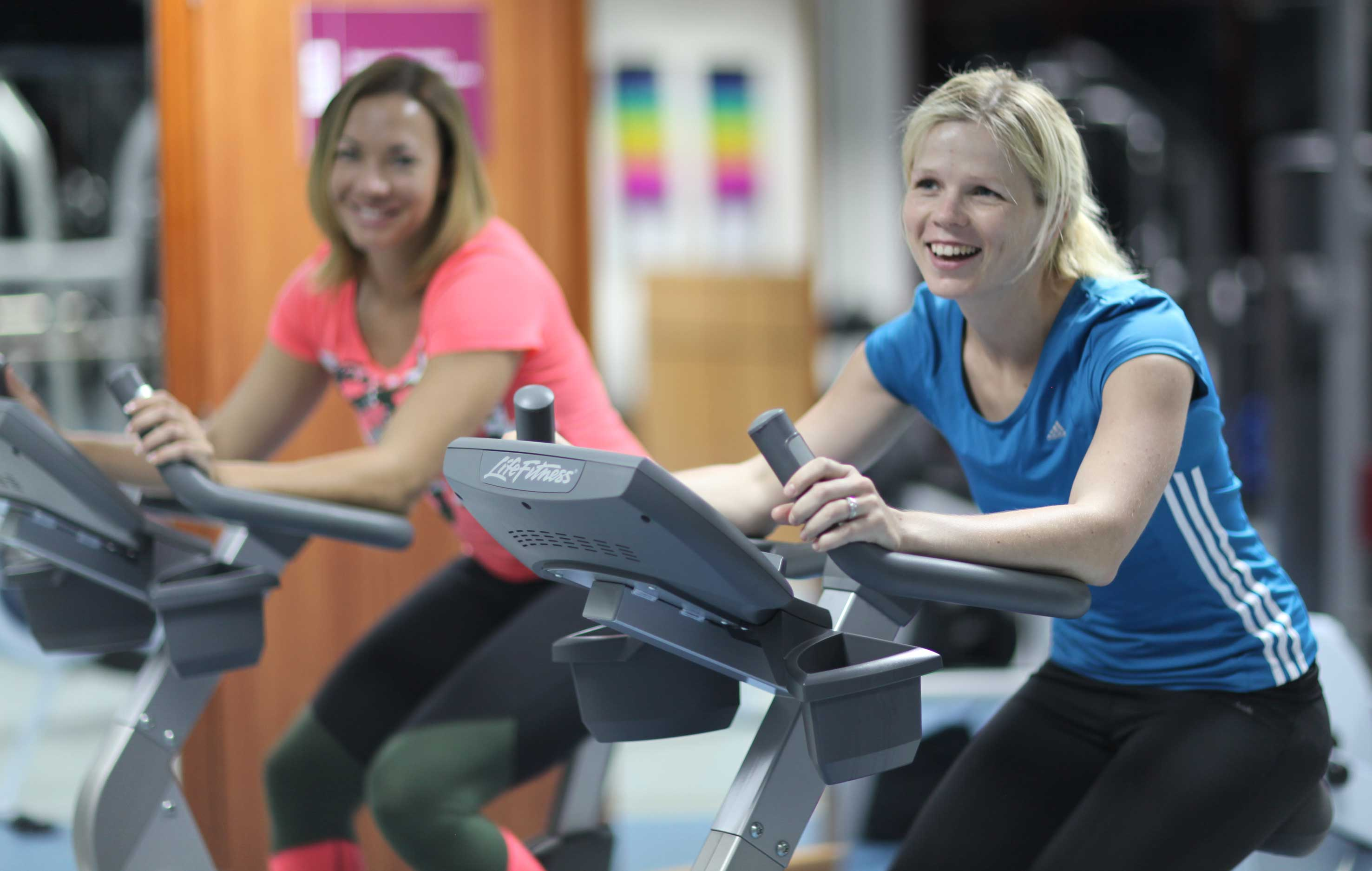 Theresa Moodie and friend in the gym