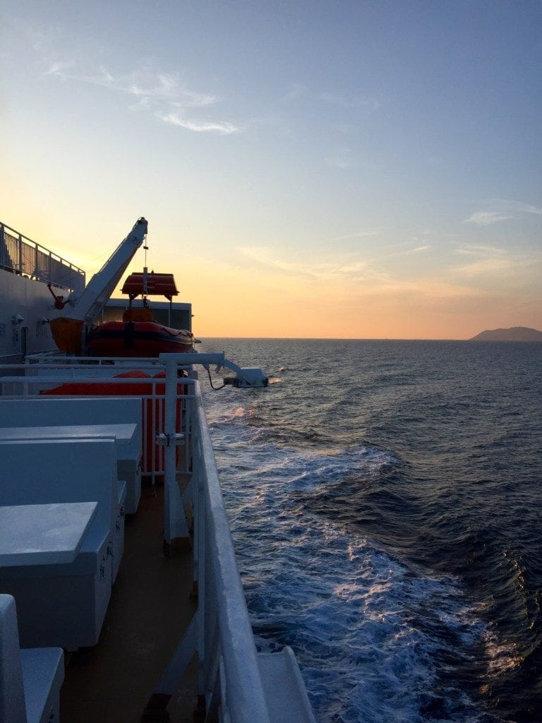 Sunset view from Blue Star ferry en route to Amorgos