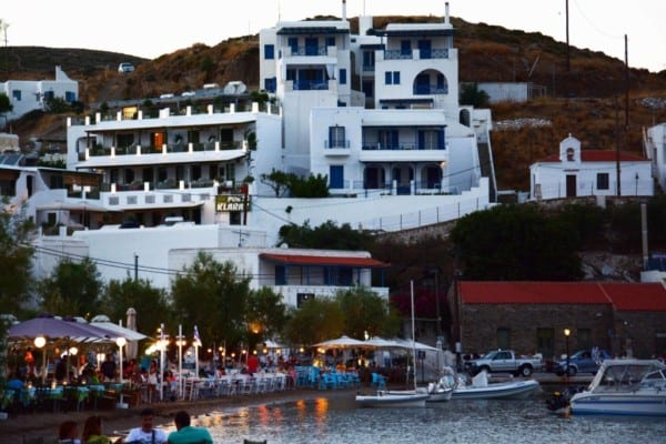 The island by night, image courtesy of Porto Klaras Hotel.