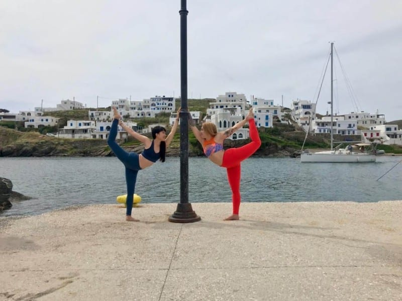 Yoga time in Kythnos with Catherine Leong and Lia Mundell