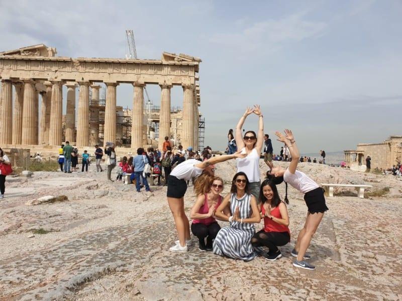 Yoga a foot the Acropolis
